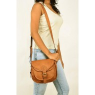 Casual Shoulder Bag with Sling Belt Women & Girl's Handbag Brown Leather Bag
