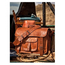 Brown Leather Office Messenger Bag