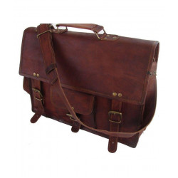 Brown Leather Casual Messenger Bag