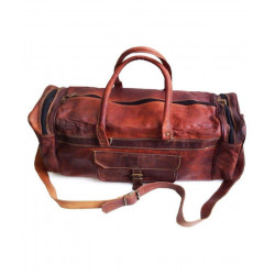 Brown Solid Duffle Bag