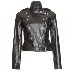 Black cropped leather jacket for women bikers-casual wear-office use