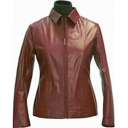 Dark brown sheep leather jacket for women for winter