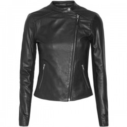 Women's black designer leather jacket
