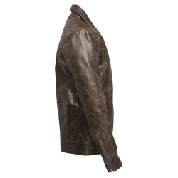 Distressed Chocolate Leather Jacket(SVLC0210)