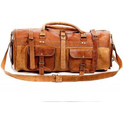 Leather Duffle Bag for Travel 22 inch * 10 inch (Russet Brown)
