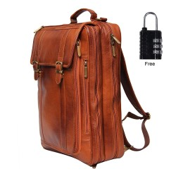 Leather Villa Leather LV Backpack Bag Cum Office Bag for Men |15.6'' Laptop Compartment| |Expandable Features| |Casual Stylish Backpack| Color (Tan)
