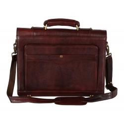 Leather Villa 22 L Men's Leather Laptop Compartment Security Lock Closure Briefcase Bag (Brown)