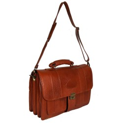 Leather Villa Men's Leather Laptop Compartment 22 L Amiet Swiss Security Lock Closure Briefcase Bag (Tan)