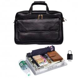 L V Men's Leather 20 L Expandable Features Zipper Laptop Briefcase Bag (15.6 Inch, Black)