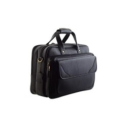 Leather Villa | Leather Laptop Briefcase Bag for Men |15.6'' Laptop Compartment| |Expandable Features| |High Security Zipper Lock| 20 Liters | (Black)