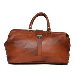 Leather Villa Unisex 22 Ltr Leather Ply Wood Base Inner Zip Pocket Tourister Duffle Bag (Tan)