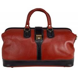 LV Unisex 22 Ltr Leather Ply Wood Base Inner Zip Pocket Tourister Duffle Bag Combination.Color  Combination Tan Black Croc