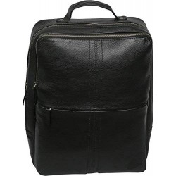 15 inch Leather Laptop Backpack - Black