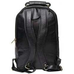 18 inch Leather Laptop Backpack - Black
