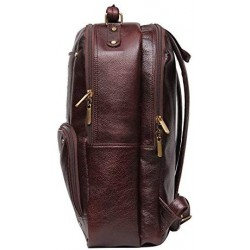 18 inch Leather Laptop Backpack - Brown