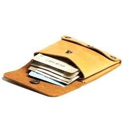 Hiller Leather Business Card Holder/Pocket Wallet/Money Purse for Men & Women. (Elmotique Champagne)