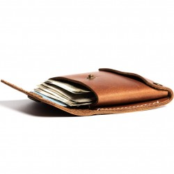 Hiller Leather Business Card Holder/Pocket Wallet/Money Purse for Men & Women. (Equestrian French Roast)
