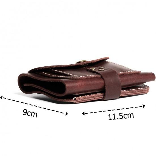 Hiller Leather Business Card Holder/Pocket Wallet/Money Purse for Men & Women (Coliseum Ruby)