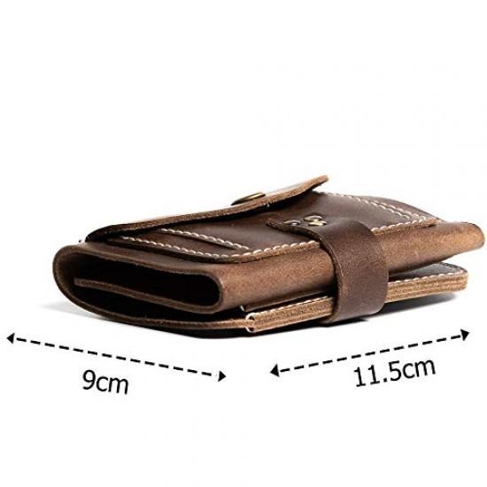 Hiller Leather Business Card Holder/Pocket Wallet/Money Purse for Men & Women (Castle Sedona)