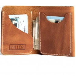 Hiller Leather Business Card Holder/Pocket Wallet/Money Purse for Men & Women (Equestrian French Roast)