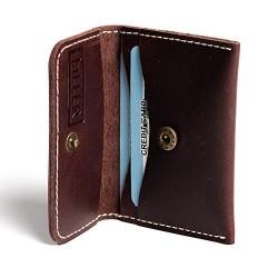 Hiller Leather Business and Credit Card Holder/Money Purse/Pocket Wallet for Men and Women. (Coliseum Ruby)