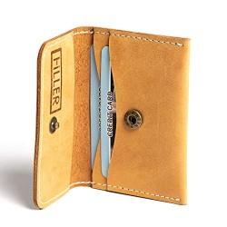 Hiller Leather Business and Credit Card Holder/Money Purse/Pocket Wallet for Men and Women. (Elmotique Champagne)