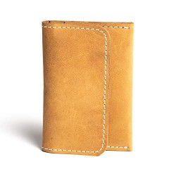 Hiller Leather Business and Credit Card Holder/Money Purse/Pocket Wallet for Men and Women. (Elmotique Champagne)