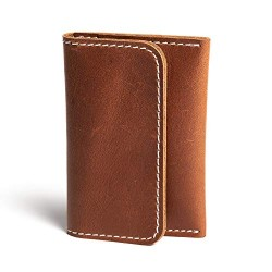 Hiller Leather Business and Credit Card Holder/Money Purse/Pocket Wallet for Men and Women. (Equestrian French Roast)