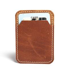 Hiller Leather Mobile Business Card Holder/Pocket Wallet/Money Purse for Men and Women. (Walnut)