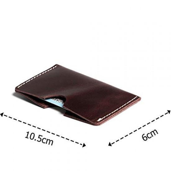 Hiller Leather Busines Card Holder/Pocket Wallet/Money Purse for Men and Women. (Coliseum Ruby)