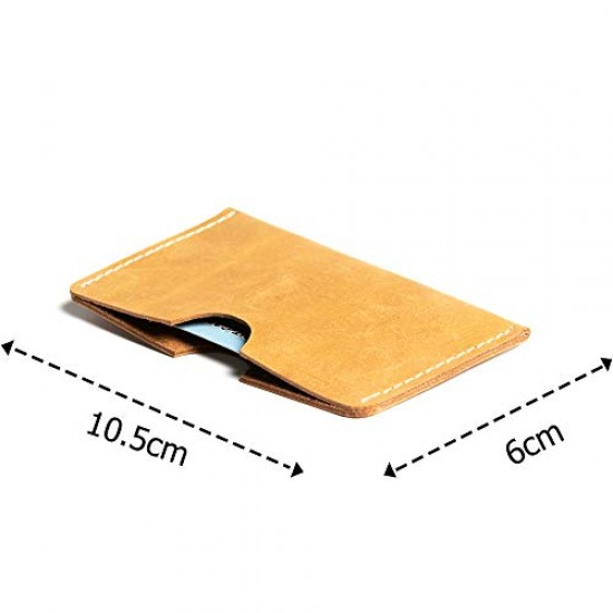 Hiller Leather Busines Card Holder/Pocket Wallet/Money Purse for Men and Women. (Elmotique Champagne)