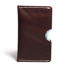 Hiller Leather Busines Card Holder/Pocket Wallet/Money Purse for Men and Women. (Coliseum Ruby)