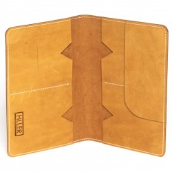 Hiller Leather Family Passport Holder/Business Card Holder/Money Purse for Men and Women (Elmotique Champagne)