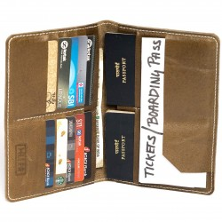 HILLER LEATHER FAMILY PASSPORT HOLDER/BUSINESS CARD HOLDER/MONEY PURSE FOR MEN AND WOMEN (Writer Trek)