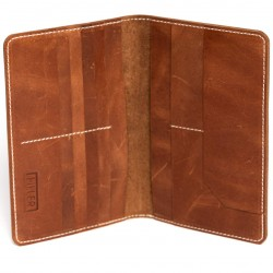 HILLER LEATHER FAMILY PASSPORT HOLDER/BUSINESS CARD HOLDER/MONEY PURSE FOR MEN AND WOMEN (Brown)