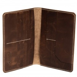 HILLER LEATHER FAMILY PASSPORT HOLDER/BUSINESS CARD HOLDER/MONEY PURSE FOR MEN AND WOMEN (Castle Sedona)