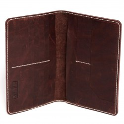 HILLER LEATHER FAMILY PASSPORT HOLDER/BUSINESS CARD HOLDER/MONEY PURSE FOR MEN AND WOMEN (Coliseum Ruby)