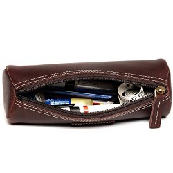Hiller Premium Quality Leather Stylish Multipurpose Roll Pouch Organizer/Pencil Pouch/Make Up Pouch for Men and Women. (Coliseum Ruby)
