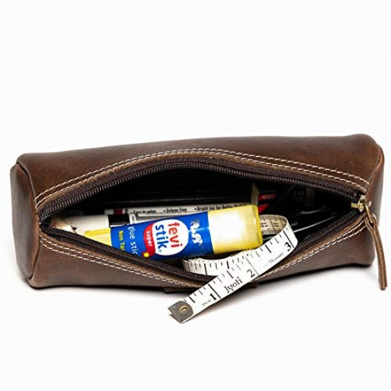 Hiller Premium Quality Leather Stylish Multipurpose Roll Pouch Organizer/Pencil Pouch/Make Up Pouch for Men and Women. (Castle Sedona)
