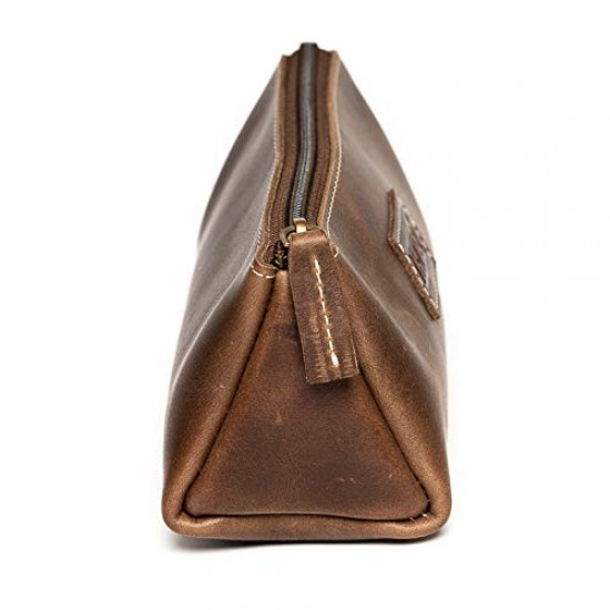 HILLER Premium Quality Leather Stylish Multipurpose Pouch Organizer/Pencil Pouch/Make Up Pouch for Men and Women. (Castle Sedona)