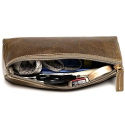 HILLER Premium Quality Leather Stylish Multipurpose Pouch Organizer/Pencil Pouch/Make Up Pouch for Men and Women. (Writer Trek)
