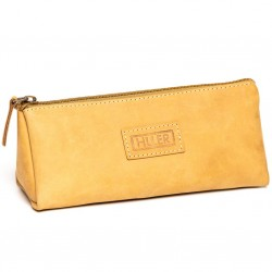 HILLER Premium Quality Leather Stylish Multipurpose Pouch Organizer/Pencil Pouch/Make Up Pouch for Men and Women. (Elmotique Champagne)