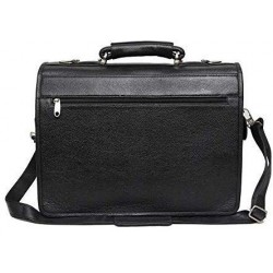 Leather Accessories 16 Inch Men's Leather Briefcase Leather Laptop Bag (Black)