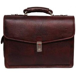 Leather Accessories 16 Inch Men's Leather Briefcase Leather Laptop Bag (Brown)