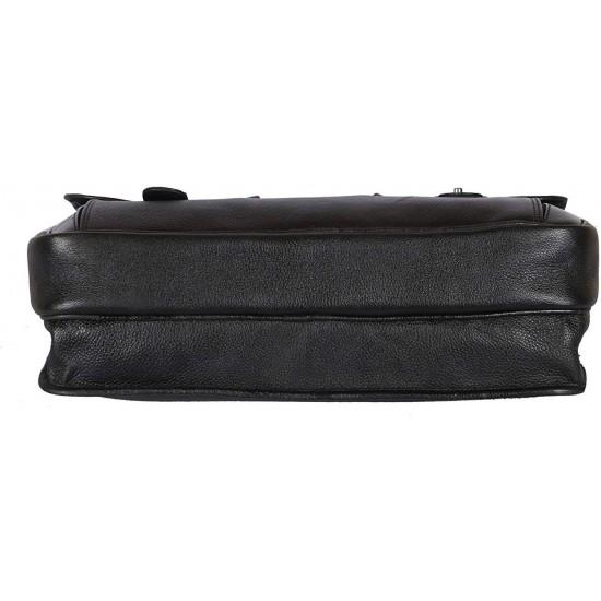 Leather Villa Leather Cross Body Laptop Bag for Men & Women,15.6'' Laptop Compartment |MackBook,Notebook & Ipad Carry Case (Tan)