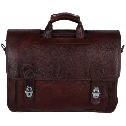 Leather Messenger Bag Cum Office File Bag for Men Expandable Made in Pure Leather (Brown)