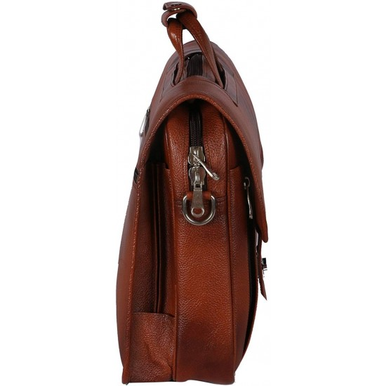 Leather Messenger Bag Cum Office File Bag for Men Expandable Made in Pure Leather (Tan)