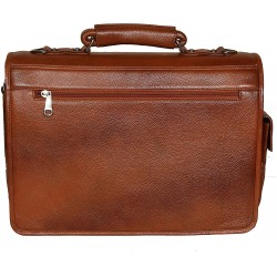 Leather Accessories 16 Inch Men's Leather Briefcase Leather Laptop Bag (TAN)