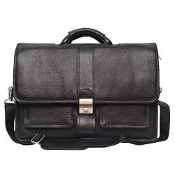 Leather Laptop Messenger Bag for Men |15.6'' Laptop Compartment| |Expandable Features| Cross Body Shoulder Strap | Zipper Closure | 18 Liters | Color(Black)
