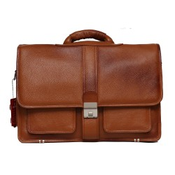 Leather Laptop Messenger Bag for Men |15.6'' Laptop Compartment| |Expandable Features| Cross Body Shoulder Strap | Zipper Closure | 18 Liters | Color(brown)